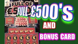 Full of £500s.Scratchcard....and   BONUS scratchcard  .... in our .. One Card Wonder Game