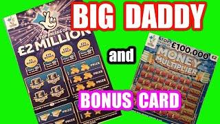 ...£2 Million Big Daddy..Scratchcard.....and Bonus card... in our..One Card Wonder Game