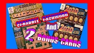 SCRABBLE cashword...And...2x..BONUS Scratchcards..... One Our One Card Wonder Game..mmmmmmMMM