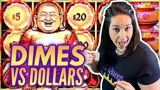 DIMES or DOLLARS ?? Which will GIVE US A BIG WIN almost HANDPAY !?