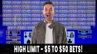 WINNING BIG w/ HIGH LIMIT Video Poker  FULL SCREEN HUGE WIN on Fortune Coin!  BCSlots