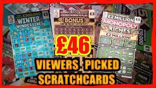 """SCRATCHCARDS Viewers Picked Card Game""""MONOPOLY"""".WONDERLINES"""".£100 LOADED"""".CAH DROP"""".CASHWORD""""5X CASH"""