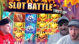 ONLINE SLOTS BATTLE! Push Gaming Slots! Josh vs Jamie Vs Scotty!