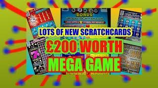 """£200 MEGA SCRATCHCARD """"MONOPOLY""""JEWEL SMASH""""CASH7s""""SPIN £100"""