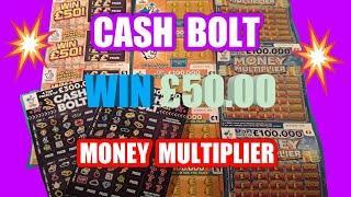 Scratchcards..CASH BOLT..Win £50..Money Multiplier..Cash Match.INSTANT £100. & £100,000 Yellow.mmmMM
