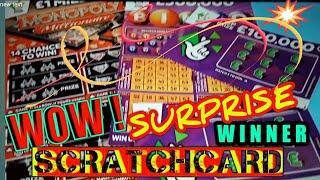 •Wow!•SURPRISE WINNER•Scratchcard•MILLIONAIRE MONOPOLY•BINGO•£100,000 PURPLE•   (classic)