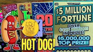 HOT DOG!! $50 $5 Million Fortune + $20 200X The Cash  $145 Texas Lottery Scratch Offs