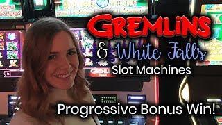 Gremlins Slot Machine Progressive WIN! White Falls Slot Machine Free Spins Bonus!!!