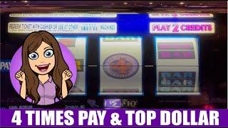 Old School Double 4 Times Pay  Top Dollar  High Limit Slot Machines - Live Play Vegas
