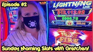 LIGHTNING LINK TIKI FIRE (2) $12.50 BONUS ROUNDS SUNDAY MORNING SLOTS WITH GRETCHEN EPISODE #2
