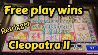 Free play wins on High limit Cleopatra II