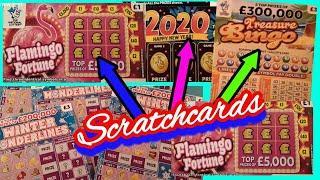 New Flamingo Scratchcards..Winter Wonderlines..2020..Full 500s.Bee Lucky..Treasure BINGO
