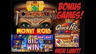 HIGH LIMIT MIX OF BONUS GAMES!  FUN FUN! High Limit! Cleo 2, Lock it Link, Quick Hits & Money Roll