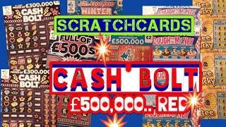 Scratchcards..CASH BOLT..B-Lucky..Wonderlines..Full £500s..Dough Money..£250,000 Red
