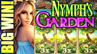 BIG WIN! MONEY BURST! 3X TREES!! NYMPH'S GARDEN Slot Machine (WMS)