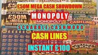 """WOW!.WHAT AN ENTERTAINING Scratchcard  Game""""MONOPOLY GOLD""""Scrabble Cashword """"INSTANT £100""""Cash Lines"""