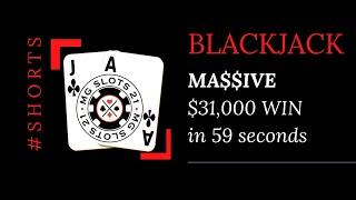 BLACKJACK OVER $30,000 WIN IN LESS THAN A MINUTE! $5000 TO $7000 HANDS ONLY! #shorts