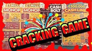 Wow..What a game Scratchcards...MONOPOLY  GOLD..CASH BOLT..CASH LINES..SCRABBLE CASHWORD