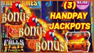 High Limit Cash Falls Pirate's Trove (3) HANDPAY JACKPOTS $50 MAX BET Bonus Round Slot Machine