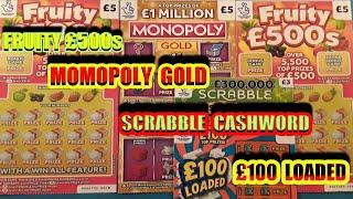 Scratchcards.MONOPOLY GOLD.FRUITY £500sSCRABBLE CASHWORD£100 LOADED