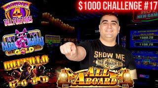 Bonuses On Wonder 4 Tall Fortune Slot Machine | $1,000 Challenge To Beat The Casino | EP-17
