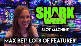 SHARK AWARD! Shark Week Slot Machine LOTS of Features!!