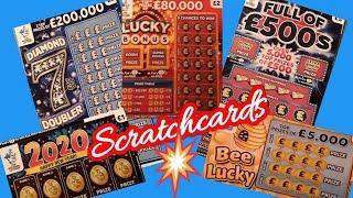 Scratchcards..Full £500s..Bee Lucky..Diamond 7..2020..Lucky Bonus...