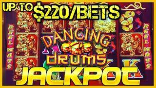 ️HIGH LIMIT Dancing Drums HANDPAY JACKPOT  ️$220 MAX BET SPINS Slot Machine Hard Rock Tampa