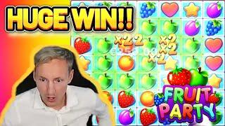 HUGE WIN! FRUIT PARTY BIG WIN - €5 bet on CASINO Slot from CasinoDaddys LIVE STREAM (OLD WIN)
