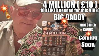 """••LOOK••️£4 Million BIG DADDY•and other Scratchcards for Later•That""""s Life•"""