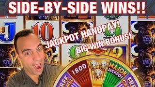 JACKPOT HANDPAY & BIG WIN BONUS SIDE BY SIDE ON BUFFALO GOLD REVOLUTION!!! |