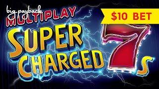 RARE 9-WHEEL BONUS! Multiplay Super Charged 7s Slot - $10 Max Bets!