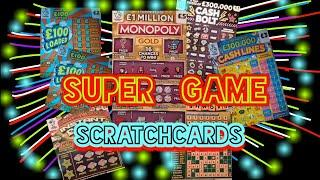 SUPER..EXCITING Scratchcard game CASH BOLT. MONOPOLY. SCRABBLE. £100 LOADED. CASHLINES. INSTANT £100