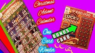 Two card Wonder Scratchcard Game......Lucky bonus ..and ..The Advent Calendar ..cards