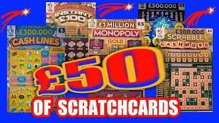 Scratchcards..£50 Worth..MONOPOLY..SCRABBLE CASHWORD..INSTANT £100..CASH LINES..mmmmmmMMM