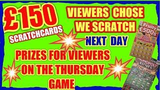 £150..SCRATCHCARDS  ....VIEWERS CHOSE AN ENVELOPE  with Cards inside.£10..£7..£6..£5..£4..£3..£2..£1