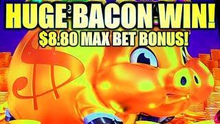 HUGE BACON BIG WIN! MY BIGGEST $8.80 MAX BET BONUS  RAKIN BACON Slot Machine (AGS)