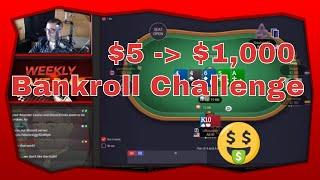 $5 to $1000 Cash Game Poker Bankroll Challenge Part 1 | Rounder Casino