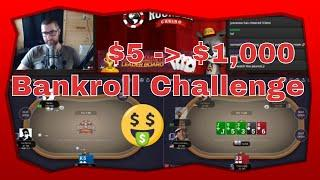$5 to $1000 Cash Game Poker Bankroll Challenge Part 2 | Rounder Casino