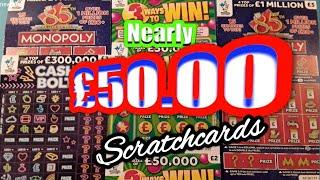 Wow..nearly £50.00 Worth of Scratchcards..MONOPOLY..CASH BOLT..£500,00..£100,000
