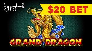 HIGH LIMIT ACTION! Grand Dragon Slot - $20 BET BONUS!