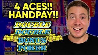 OMG! I Hit 4 ACES! What A SURPRISE!! JACKPOT HANDPAY! Double Double BONUS Video Poker!