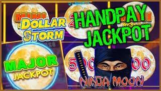 HIGH LIMIT Dollar Storm Ninja Moon HANDPAY MAJOR JACKPOT️$25 Bonus Round Slot Machine Casino
