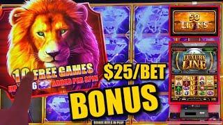HIGH LIMIT Cash Express Luxury Line 50 Lions ️$25 MAX BET Bonus Rounds Slot Machine Casino