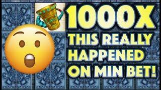 •1000X MASSIVE WIN ON MIN!• THIS REALLY HAPPENED! MAYAN CHIEF Slot Machine Bonus (KONAMI)