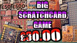 BIG Scratchcards Game-3....£30,00.Diamond 7s.Full £500s.Wonderlines..Lucky Bonus.B-Lucky.