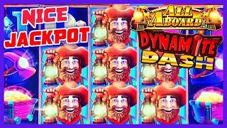 HIGH LIMIT All Aboard  Piggy Pennies & Dynamite Dash HANDPAY JACKPOT $25 Bonus Slot Machine Casino