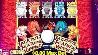 5 Dragons Slot Machine $8.80 Max Bet BONUS WON | NICE SESSION | 5 Dragons Grand Slot Live Play