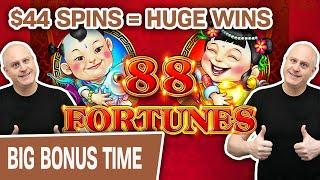 88 Fortunes Leads to RAJA Fortunes!  $44 Spins = HUGE Slot Machine Wins