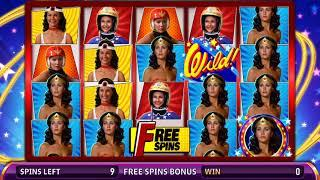 WONDER WOMAN Video Slot Casino Game with an AMAZING AMAZON FREE SPIN  BONUS